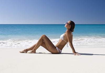 Woman on a beach in St Maarten