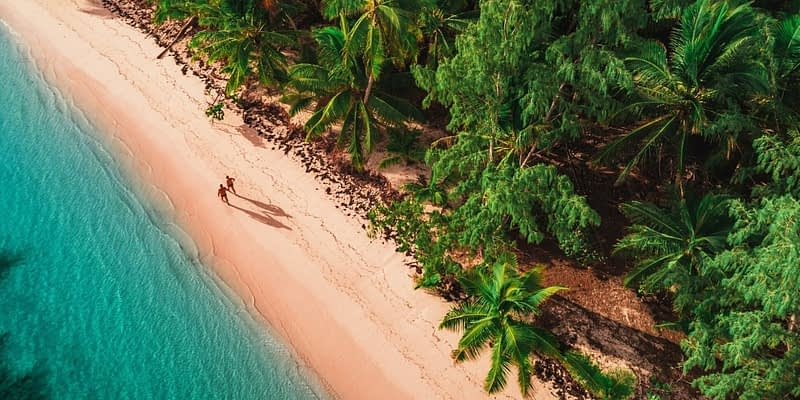 Aerial view of a beautiful beach in the Dominican Republic