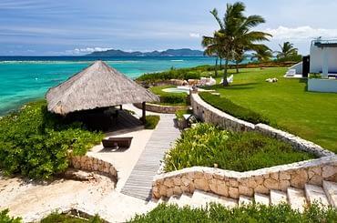 Ultra-luxury beachfront home for sale, Little Harbour, Anguilla - garden & sea view
