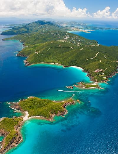 Aerial view of West End, St Thomas in the US Virgin Islands