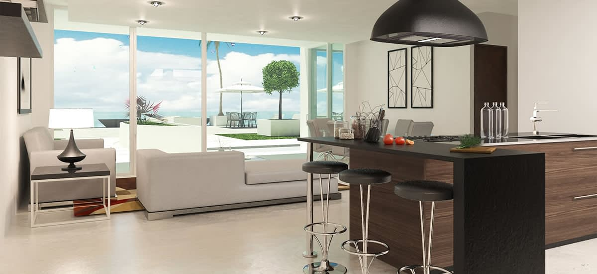 Living rooms offering stunning views