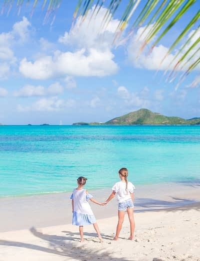 Children on the beach in Antigua