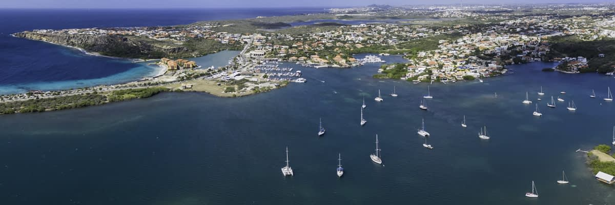 Spanish Water, Curacao - aerial view