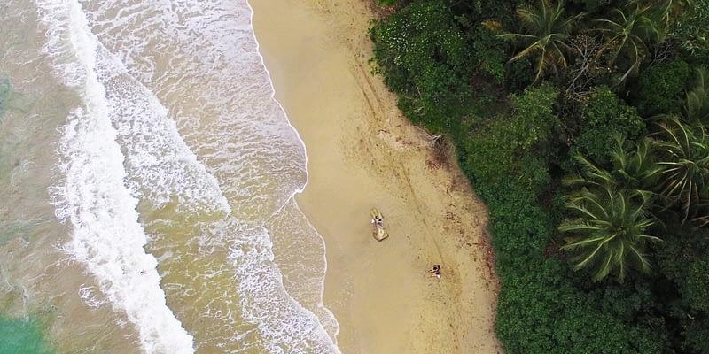 Aerial view of a beautiful beach in Costa Rica