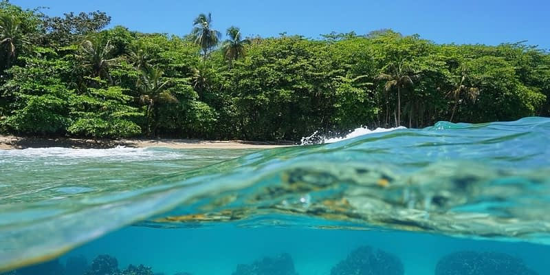 Beautiful beach and clear ocean waters in Costa Rica