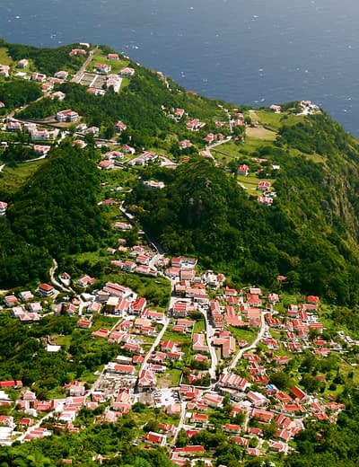 Aerial view of Saba and its red-roofed cottages